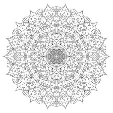 Libro de colorear con mandala floral en blanco y negro.
