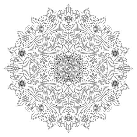 Coloring book with beautiful black and white mandala. Vector design. Иллюстрация