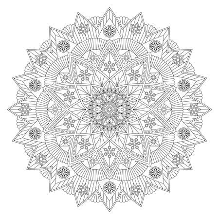 Libro para colorear con hermoso mandala en blanco y negro. Diseño vectorial.