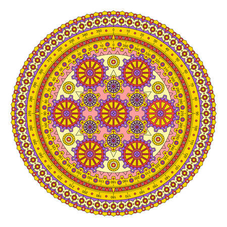 Colored mandala with gears. Mechanism with a dial. Vector image.