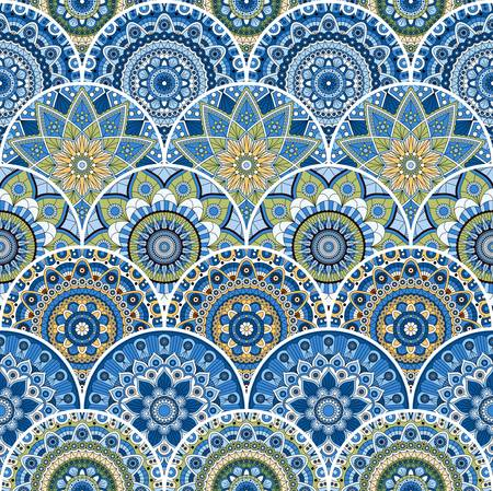Seamless patchwork pattern with mandalas in ethnuc style. Decorative ornament.