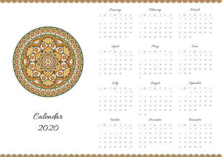 Calendar for 2020 year with mandala ornament. Week starts on sunday. Ilustração