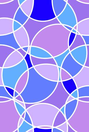 Stained glass pattern with circles in blue and purple colors. Seamless vector design.