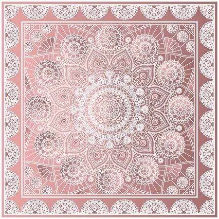 Bandana print with decorative mandala pattern in dusty rose colors. Vector drawing.