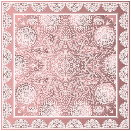 Beautiful square kerchief design with mandala pattern. Fashion print in dusty rose colors. Ilustrace