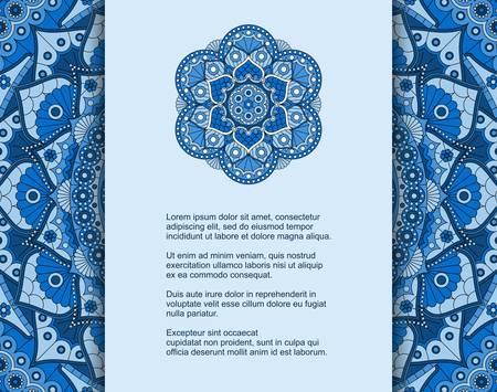 Template for card or invitation with blue mandala pattern and place for text. Vector design with ornament in ethnic style. Illustration