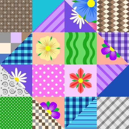 Original double patchwork with flowers. Vector design.