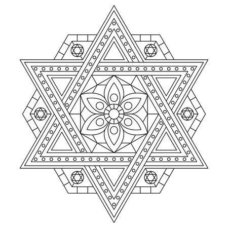 Coloring page with six-pointed star. Vector drawing.