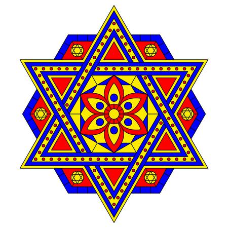 Multicolored mandala with six-pointed star. Vector design.