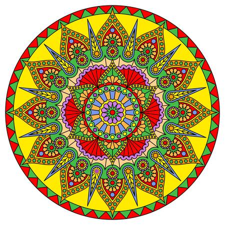 Round mandala with a bright pattern isolated on white background. Vector print.