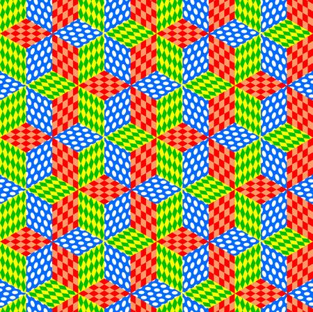 Seamless patchwork of rhombuses with multi-colored patterns. Vector design. Vectores