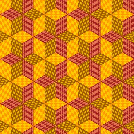 Seamless patchwork of rhombuses with multi-colored patterns. Vector design.