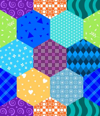 Seamless patchwork of hexagons with multi-colored patterns. Vector design.