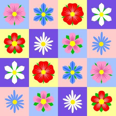 Patrón de mosaico brillante con diferentes flores. Diseño vectorial. Ilustración de vector