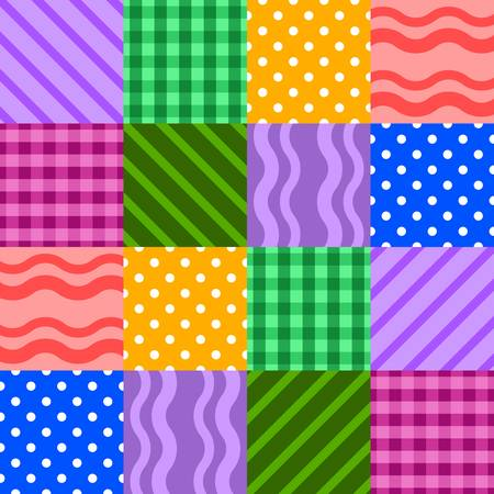 Patchwork from geometric multicolored patterns. Vector design.