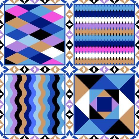 Colorful patchwork of four squares with different patterns. Vector design. Ilustração