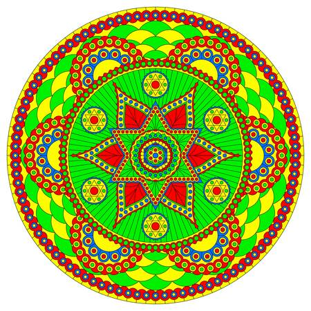 Muilticolored mandala with six-pointed star and bright abstract pattern. Vector design.