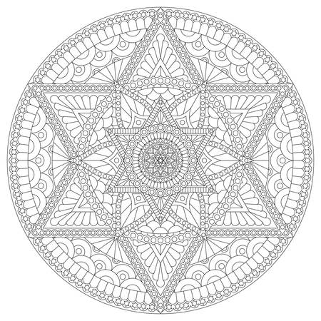 Coloring page with mandala with six-pointed star and abstract pattern. Vector drawing.