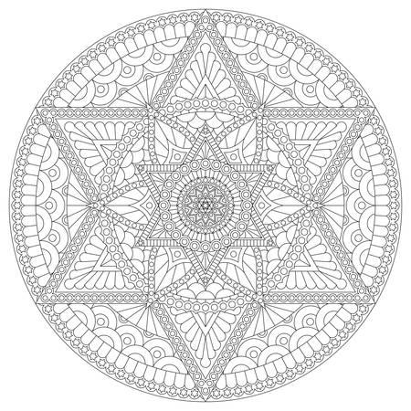 Pagina da colorare con mandala con stella a sei punte e motivo astratto. Disegno vettoriale.