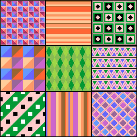 Multicolored patchwork with different patterns. Print for fabric. Vector design.