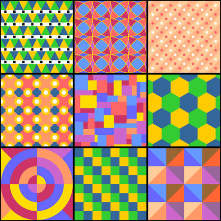 Patchwork with abstract multicolored geometric patterns. Print for fabric and textile. Vector drawing.
