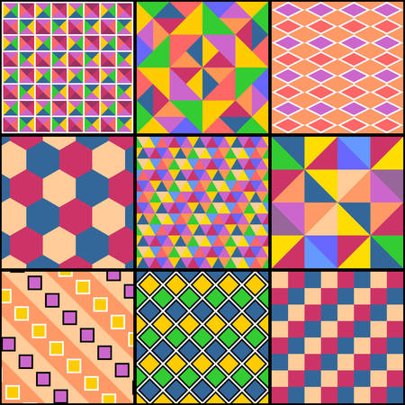 Patchwork from nine geometric multicolored patterns. Vector drawing.