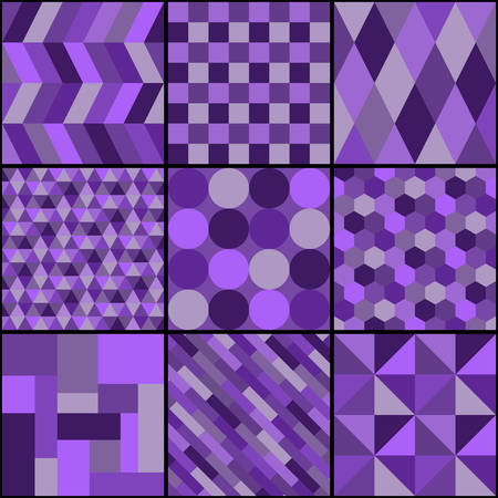 Patchwork from nine square patterns in violet colors. Vector drawing. Ilustração