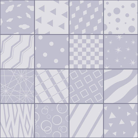 Patchwork in grey colors with sixteen abstract patterns.  Vector design.