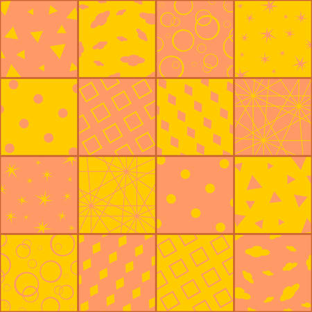 Bright patchwork in orange and yellow colors with sixteen abstract patterns.  Vector design.