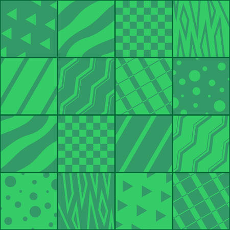 Patchwork in green colors with abstract patterns.  Vector design. Ilustração