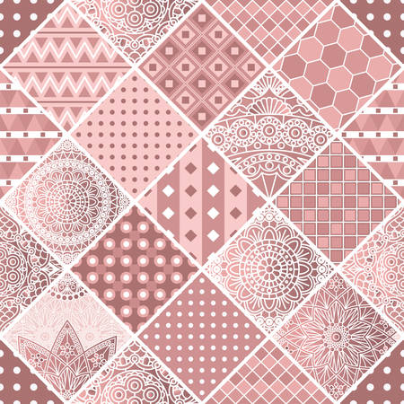 Dusty pink patchwork with geometric and mandala patterns. Vector design.