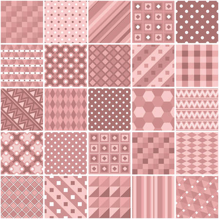 Patchwork in dusty rose colors with geometric patterns. Vector drawing. Ilustração