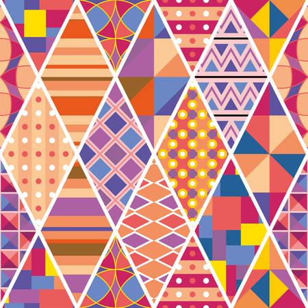 Bright colorful seamless patchwork pattern with ethnic motifs. Vector design. Ilustração