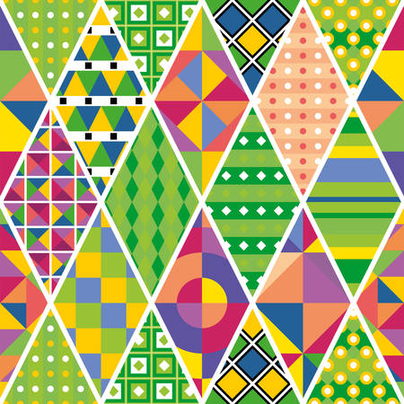 Colorful seamless patchwork pattern with different ornaments. Vector drawing. Ilustração
