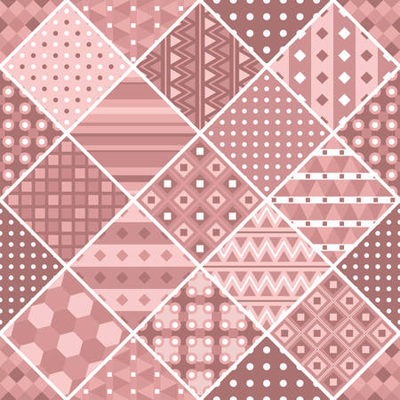 Dusty rose patchwork with geometric patterns. Vector drawing. Ilustração