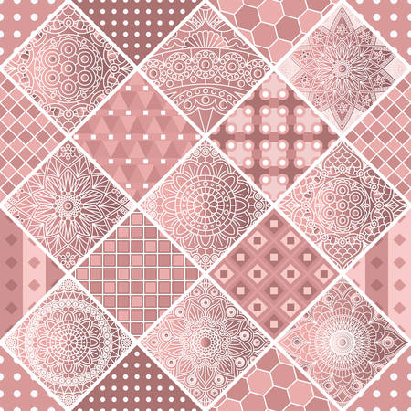 Patchwork in dusty pink colors with geometric and mandala patterns. Vector design.