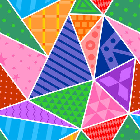 Bright seamless patchwork with abstract triangle patterns. Vector design.