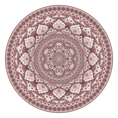 Round dusty rose mandala with floral pattern isolated on white background. Vector print.