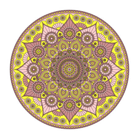 Beautiful round mandala with flower pattern in dusty rose and yellow colors. Vector design.