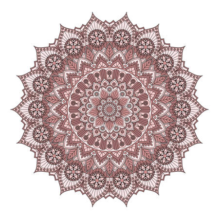 Round mandala with floral pattern in dusty rose colors. Vector drawing.
