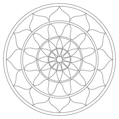 Simple black and white mandala with concentric circles. Antistress coloring page. Vector design.