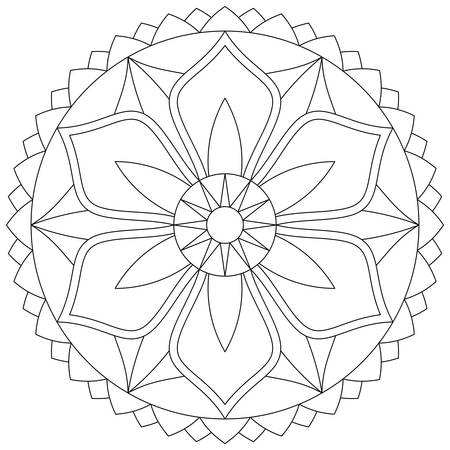 Beautiful black and white mandala with floral pattern. Vector drawing. Antistress coloring page.