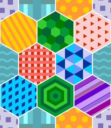Seamless patchwork with color hexagonal abstract patterns. Vector design.
