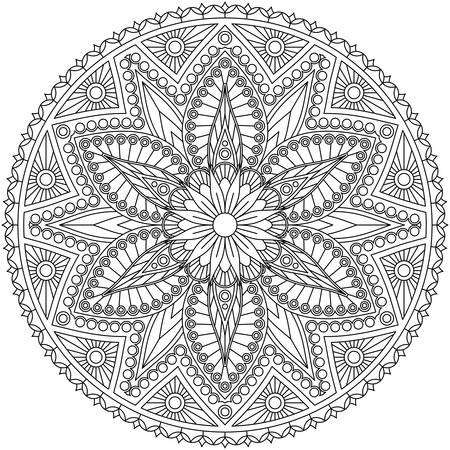 Black and white mandala with floral pattern. Coloring page, vector design. Vector Illustration