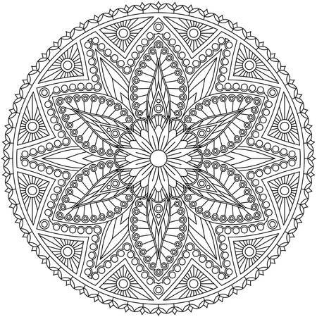 Schwarz-Weiß-Mandala mit Blumenmuster. Malvorlagen, Vektordesign. Vektorgrafik
