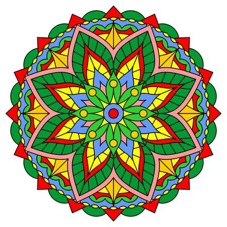 Bright mandala with floral and geometric ornaments. Vector design.