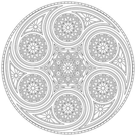 Coloring book for adults with mystical mandala with six-pointed star. Vector drawing.