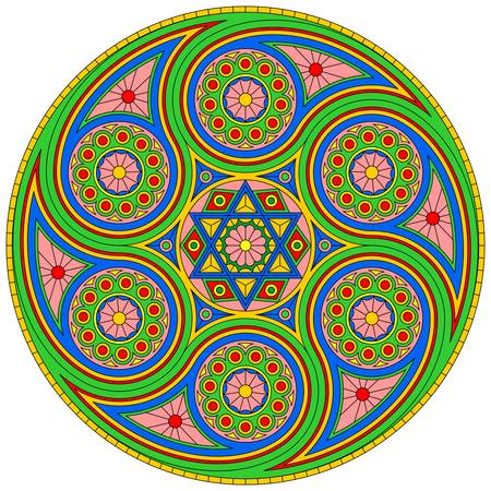 Bright mystical mandala with six-pointed star. Vector design.