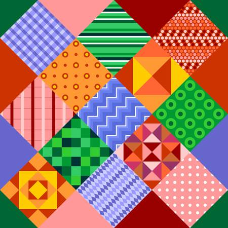 Seamless patchwork with abstract multicolored geometric patterns. Print for fabric and textile. Vector drawing. Иллюстрация