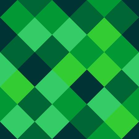 Seamless pattern of squares in different shades of green. Vector drawing.
